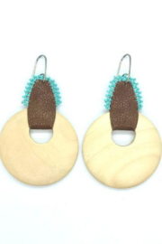 Leah Sturgis Rere Earrings - Brown Leather and Light Wood - Product Mini Image
