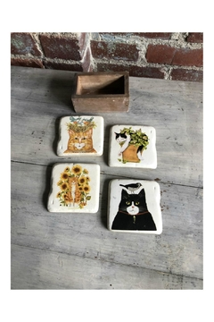 Creative Co-Op Resin Cat Coasters - Product List Image