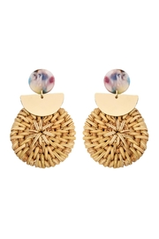 Riah Fashion Resin-Post-Earrings With Drop-Rattan-Ornament - Product Mini Image