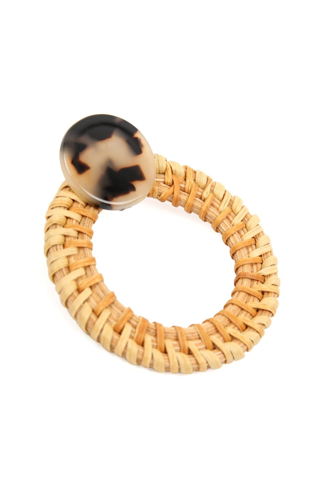 Riah Fashion Resin-Post-Earrings With Rattan-Hoop - Front Full Image