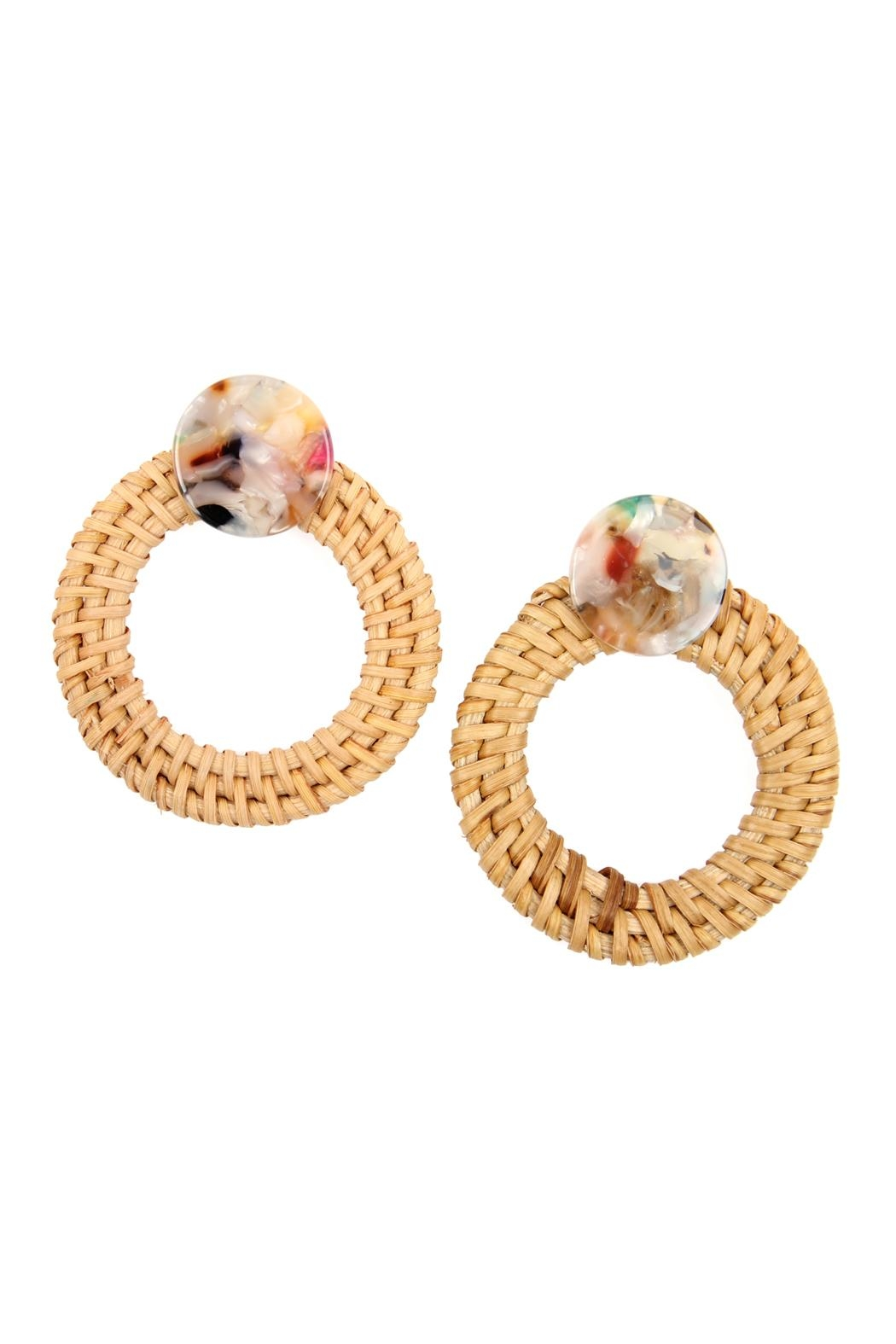 Riah Fashion Resin-Post-Earrings With Rattan-Hoop - Front Cropped Image