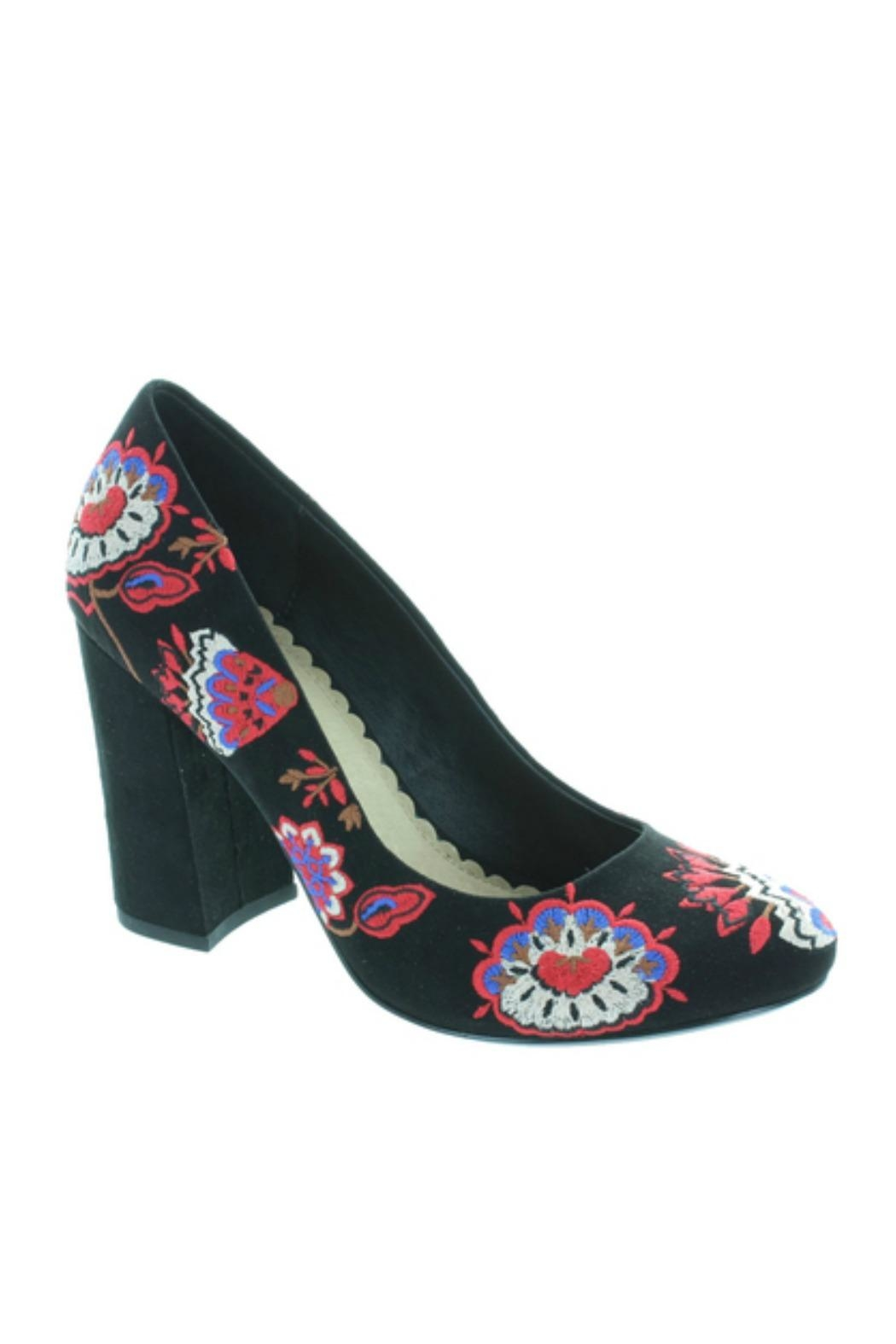 Restricted Embroidered Pumps - Front Full Image