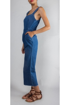 Shoptiques Product: Retro-Denim Raw-Hem Jumpsuit