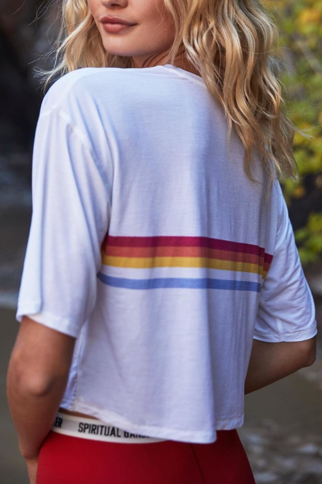 SPIRITUAL GANGSTER Retro Striped Tee - Side Cropped Image