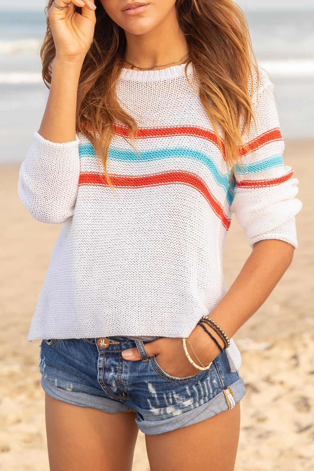 Wooden Ships Retro Stripes Sweater - Front Full Image