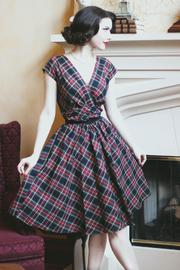 60s 70s Plus Size Dresses, Clothing, Costumes Eleanor Plaid Dress $99.00 AT vintagedancer.com