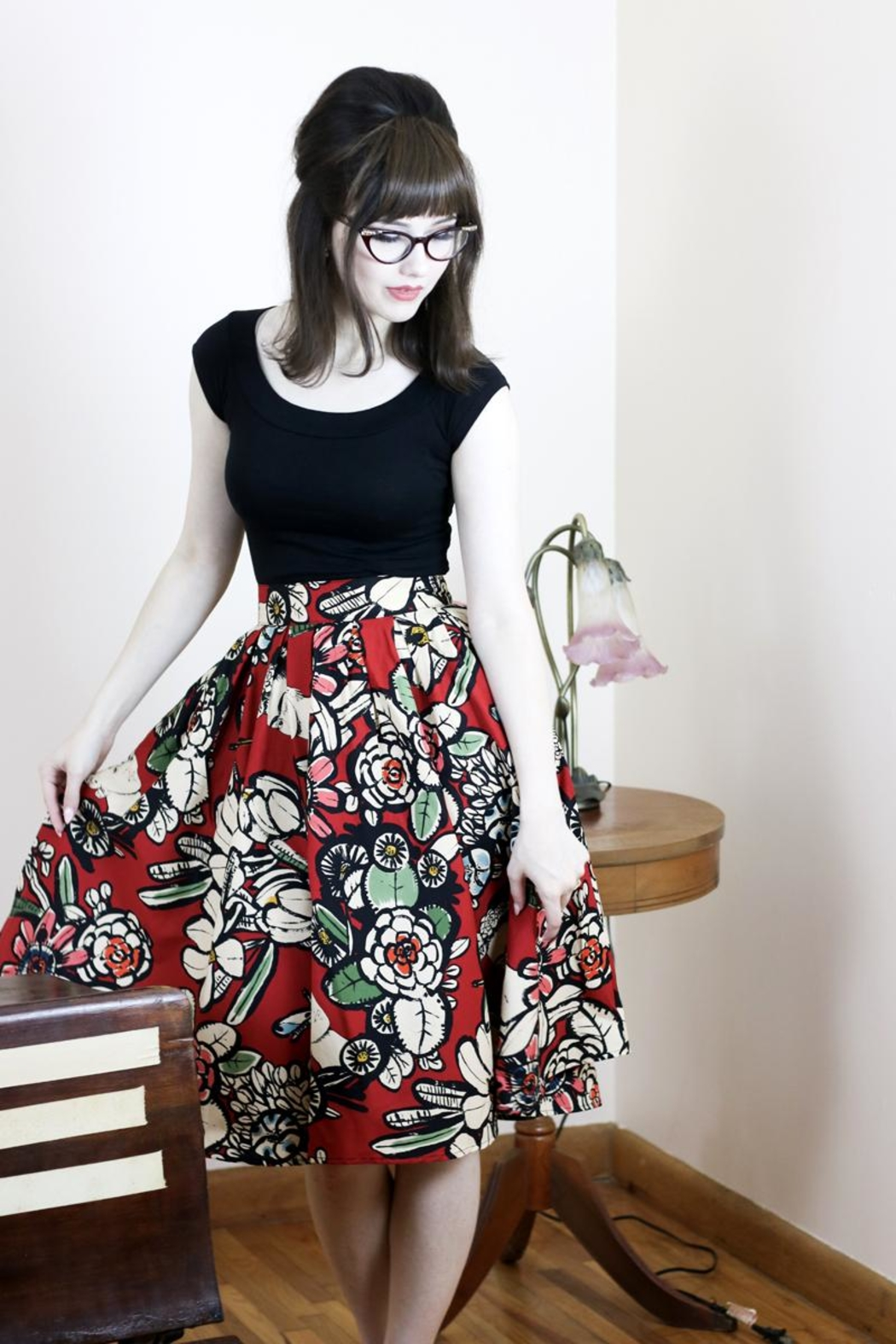 Retrolicious Floral Frida Skirt - Front Cropped Image