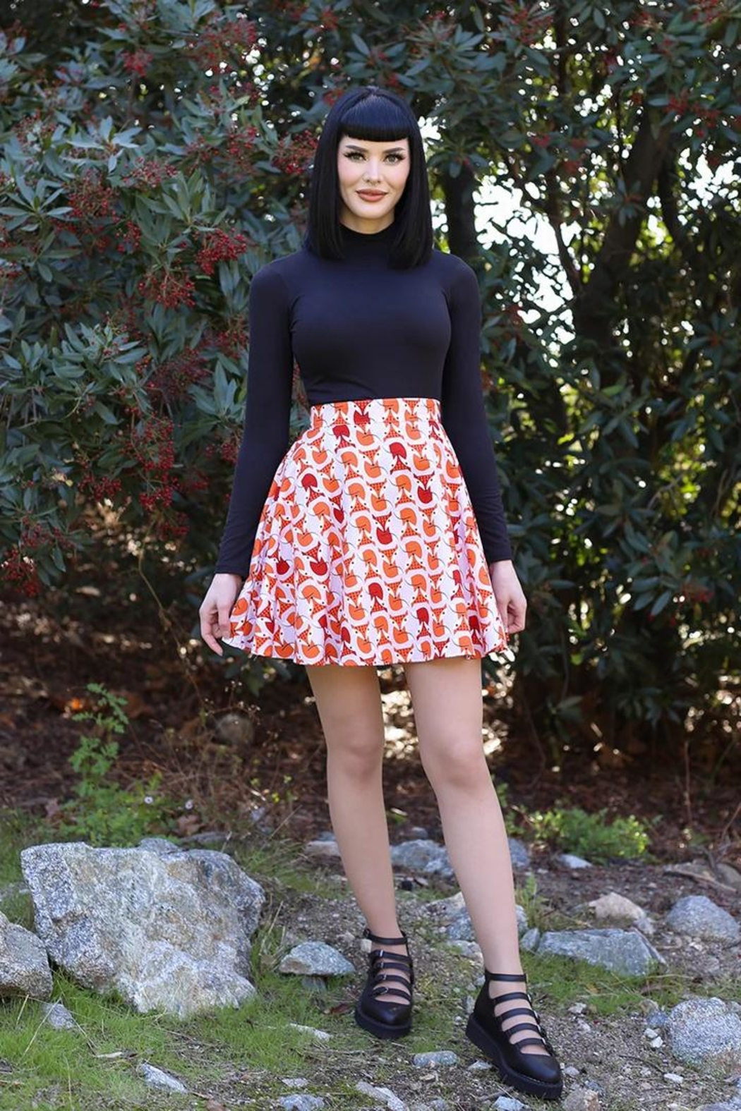 Retrolicious Foxes Skater Skirt - Front Cropped Image
