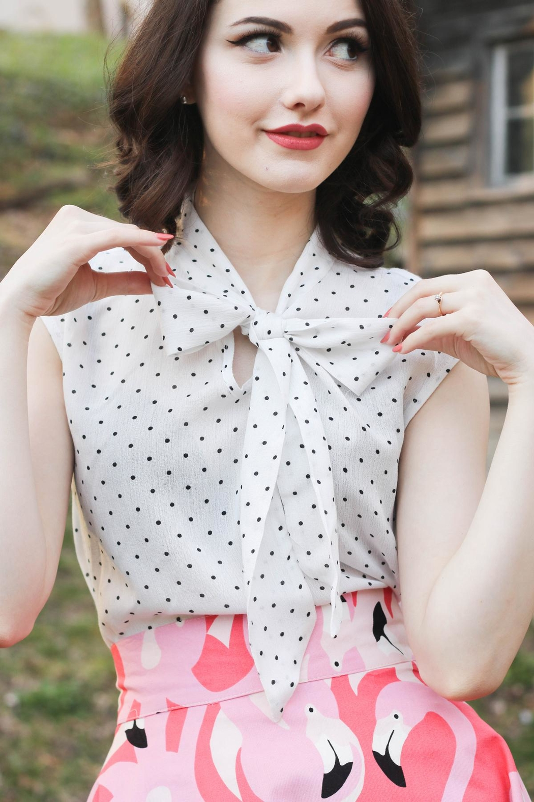 Retrolicious Polka-Dot Bow Top - Main Image