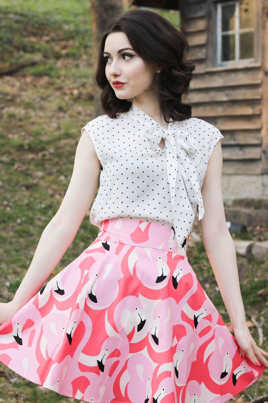 Retrolicious Polka-Dot Bow Top - Front Full Image