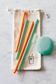 Boon Reusable Silicone Straws Set of 4 in Pouch - Product Mini Image