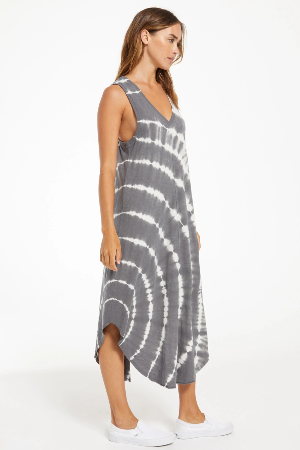 z supply Reverie Spiral Tie-Dye Dress - Back Cropped Image