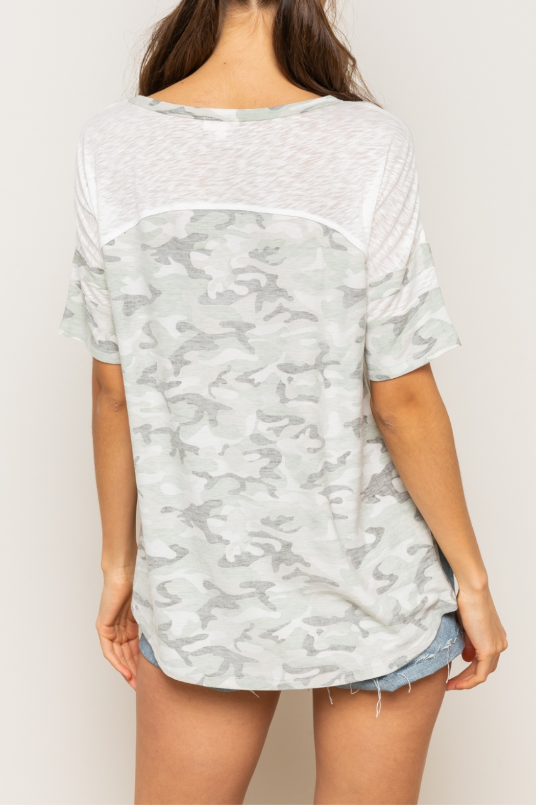 Hem & Thread Reversed Camo Drop Shoulder Top - Back Cropped Image