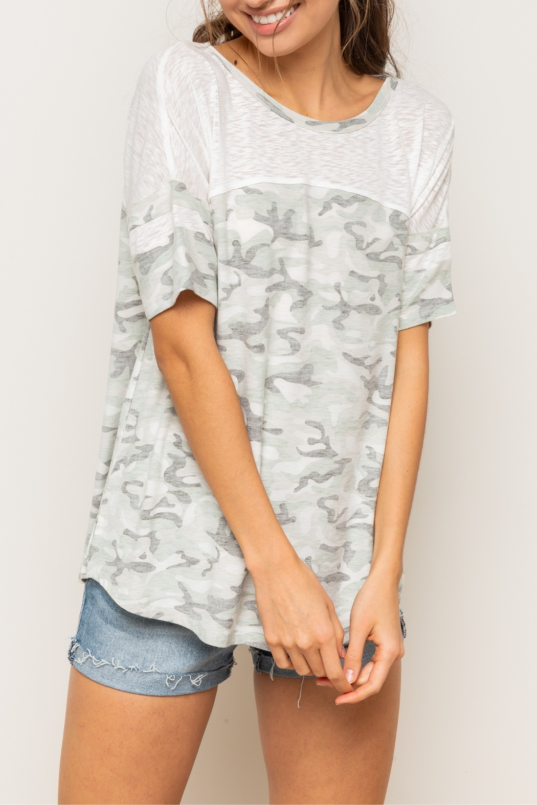 Hem & Thread Reversed Camo Drop Shoulder Top - Main Image