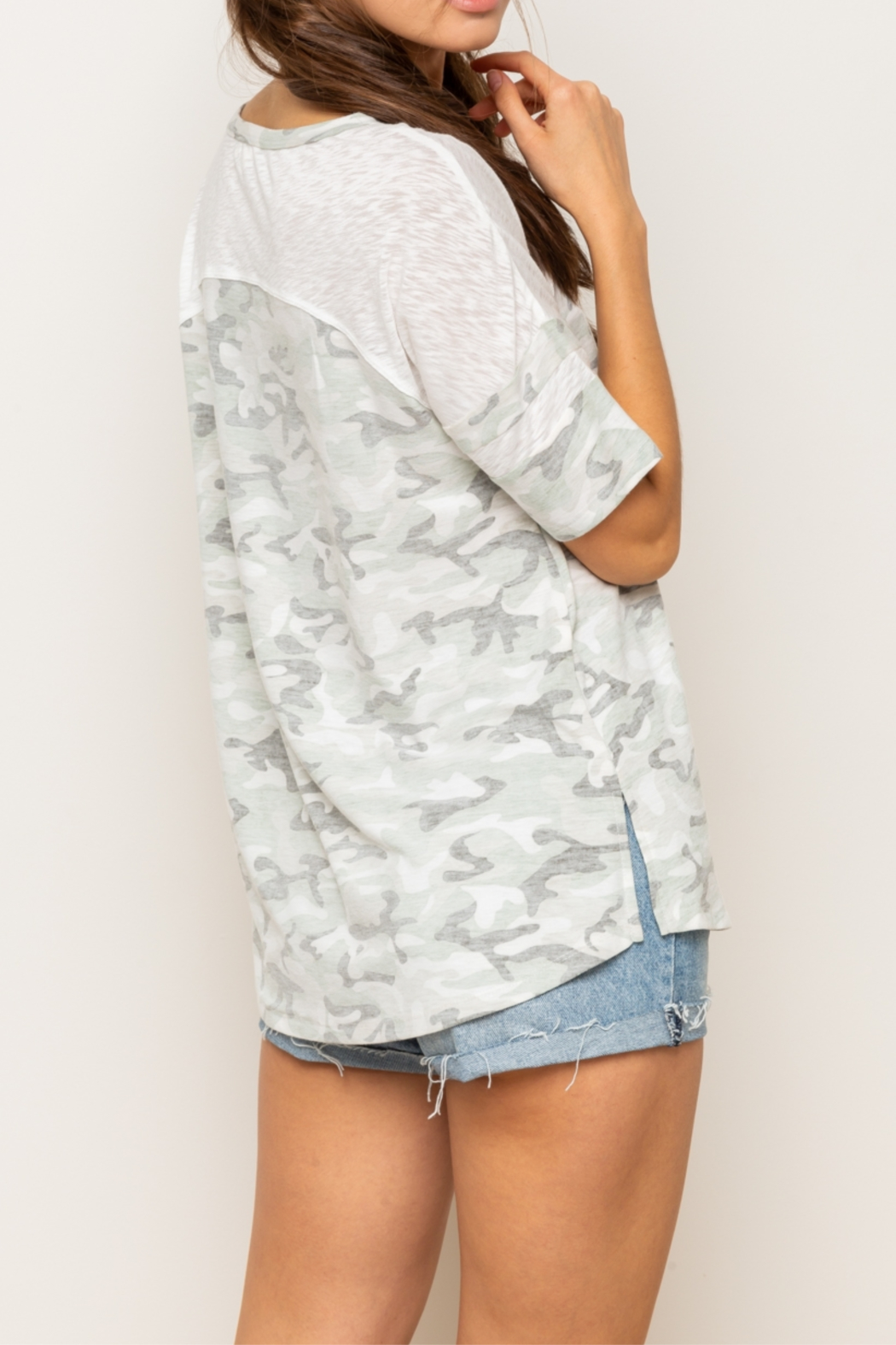 Hem & Thread Reversed Camo Drop Shoulder Top - Side Cropped Image