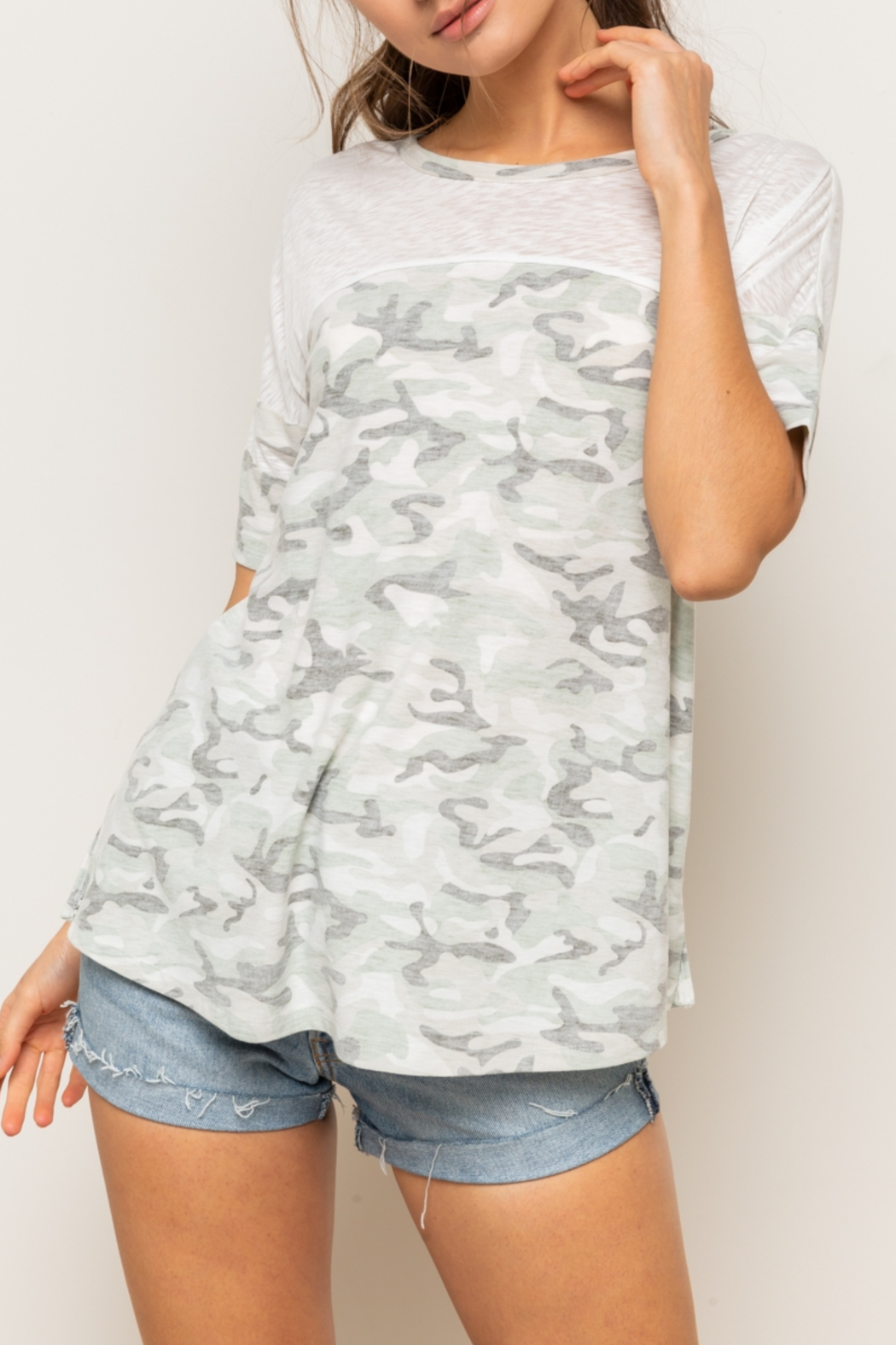 Hem & Thread Reversed Camo Drop Shoulder Top - Front Full Image
