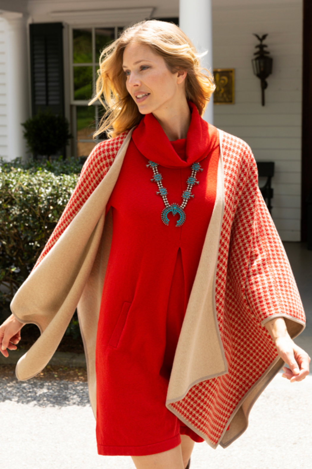 Tyler Boe Reversible Cotton/Cashmere Cape - Front Cropped Image