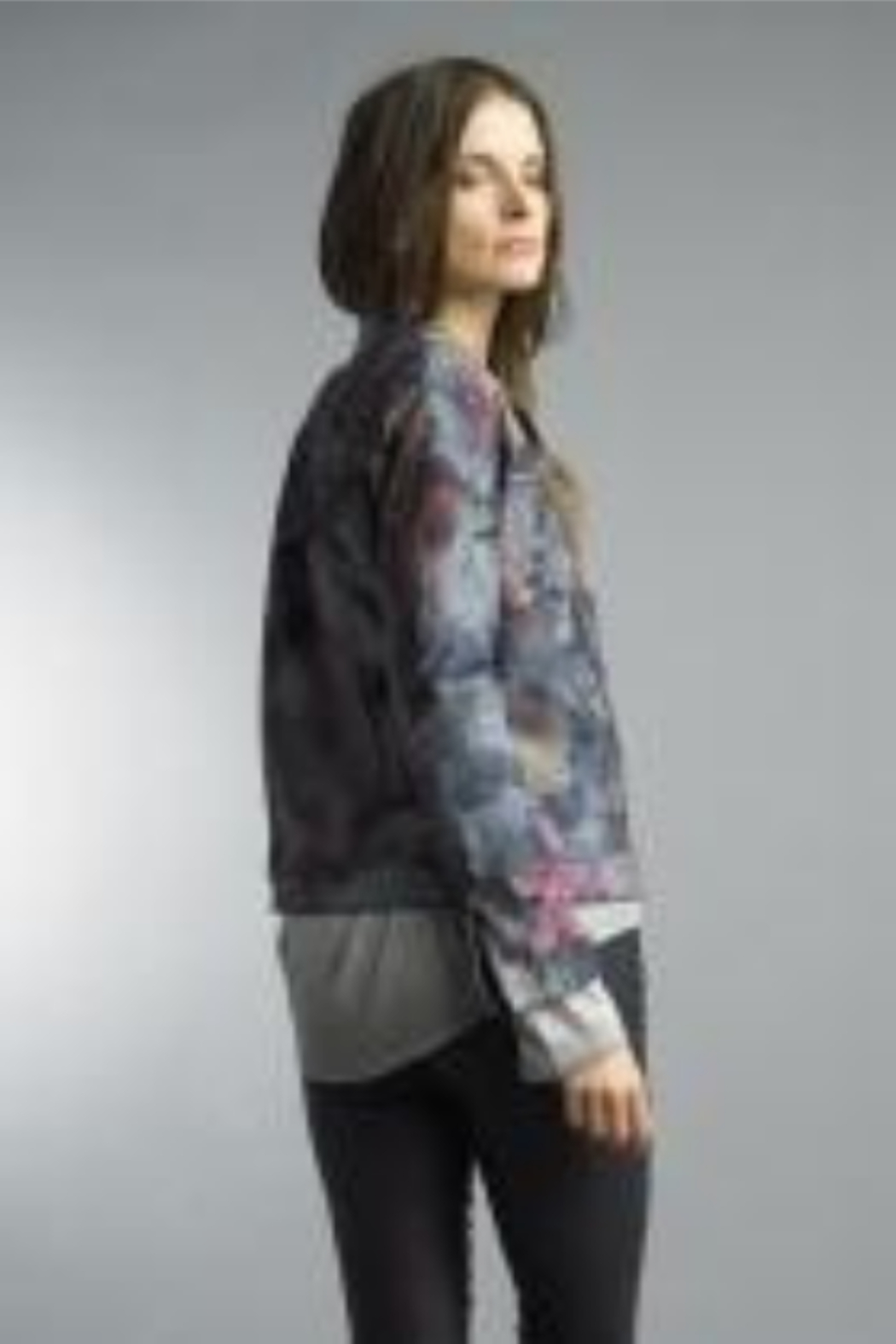 Tempo Reversible Denim and Floral Pattern Jacket - Front Full Image