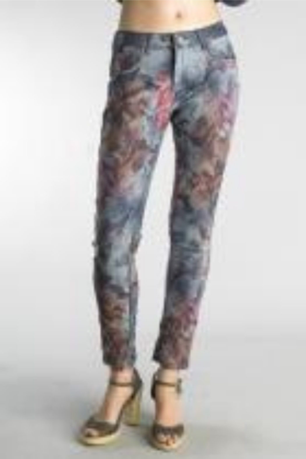Tempo Reversible Denim and Floral Pattern Pants - Main Image