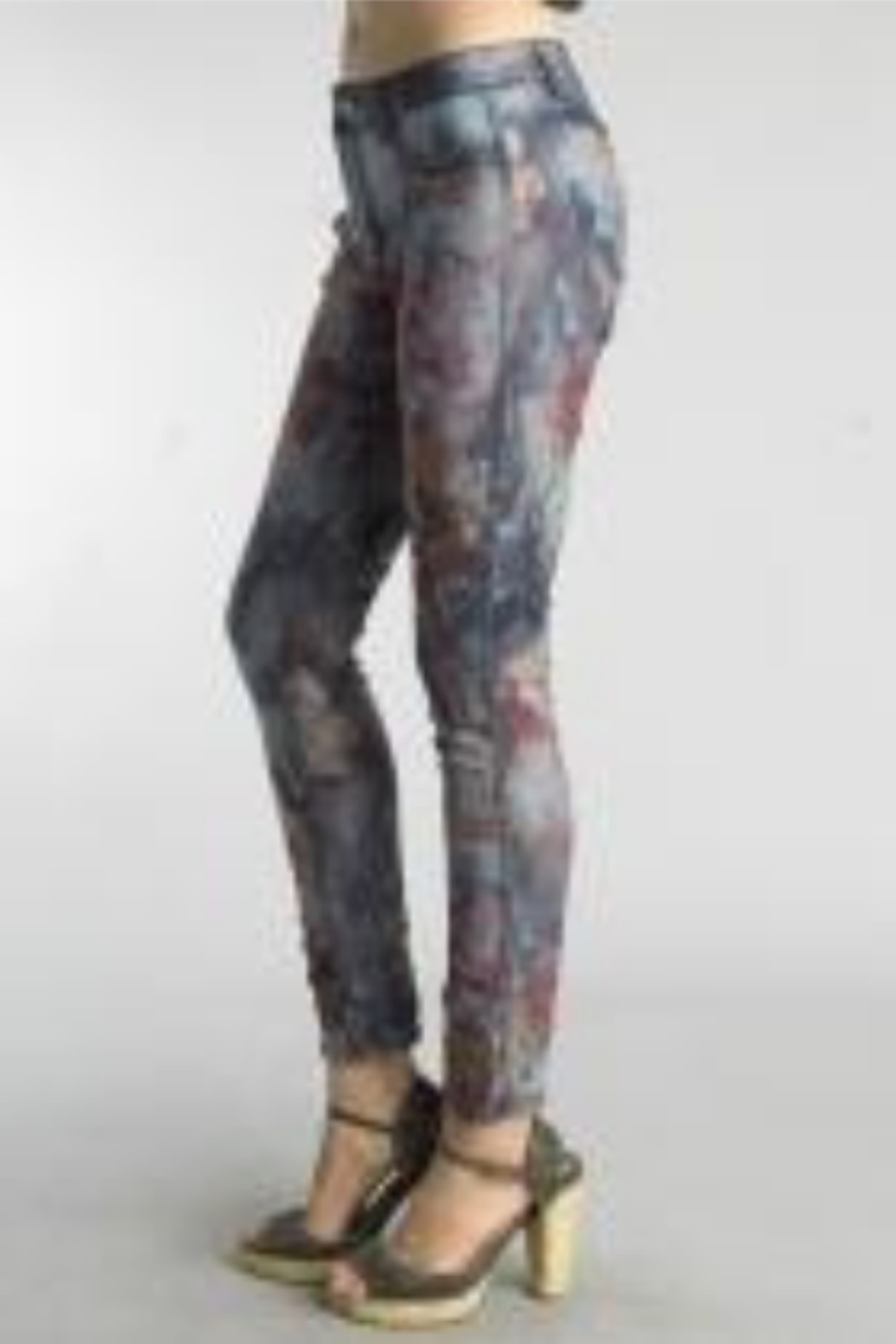 Tempo Reversible Denim and Floral Pattern Pants - Front Full Image