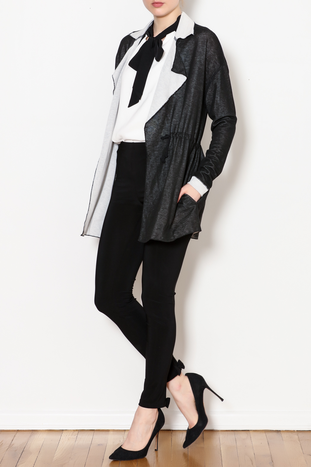 Three Dots Reversible Drawstring Knit Jacket - Side Cropped Image