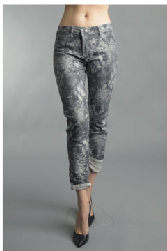 Tempo Reversible Grey Floral Pattern Pants - Product List Image