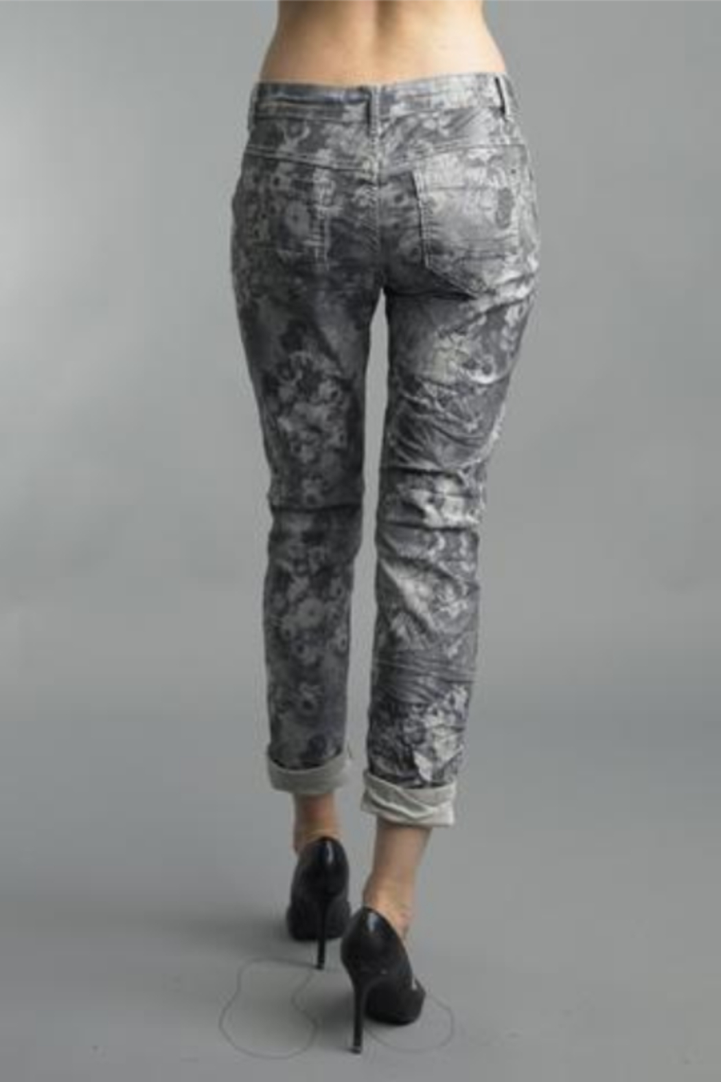Tempo Reversible Grey Floral Pattern Pants - Front Full Image