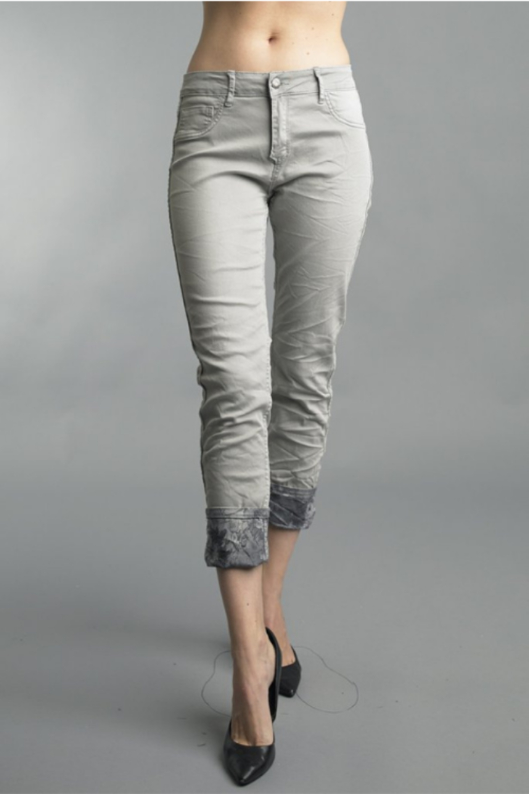 Tempo Reversible Grey Floral Pattern Pants - Side Cropped Image