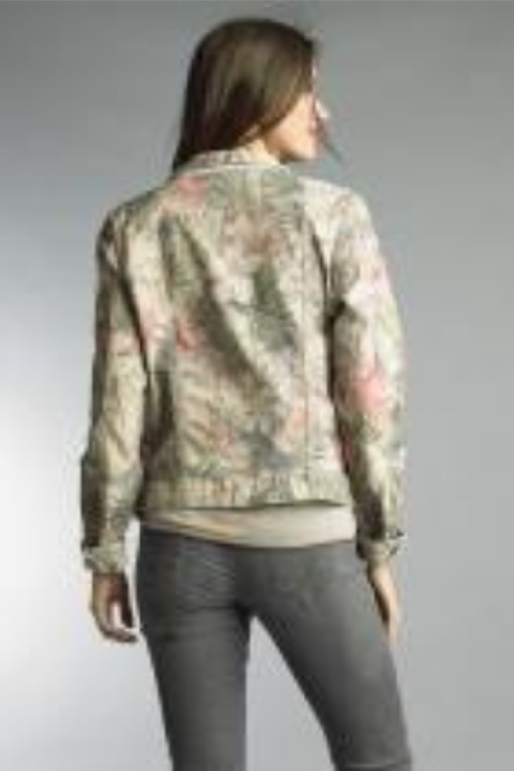 Tempo Reversible Khaki and Muted Pink Floral Pattern Jacket - Front Full Image