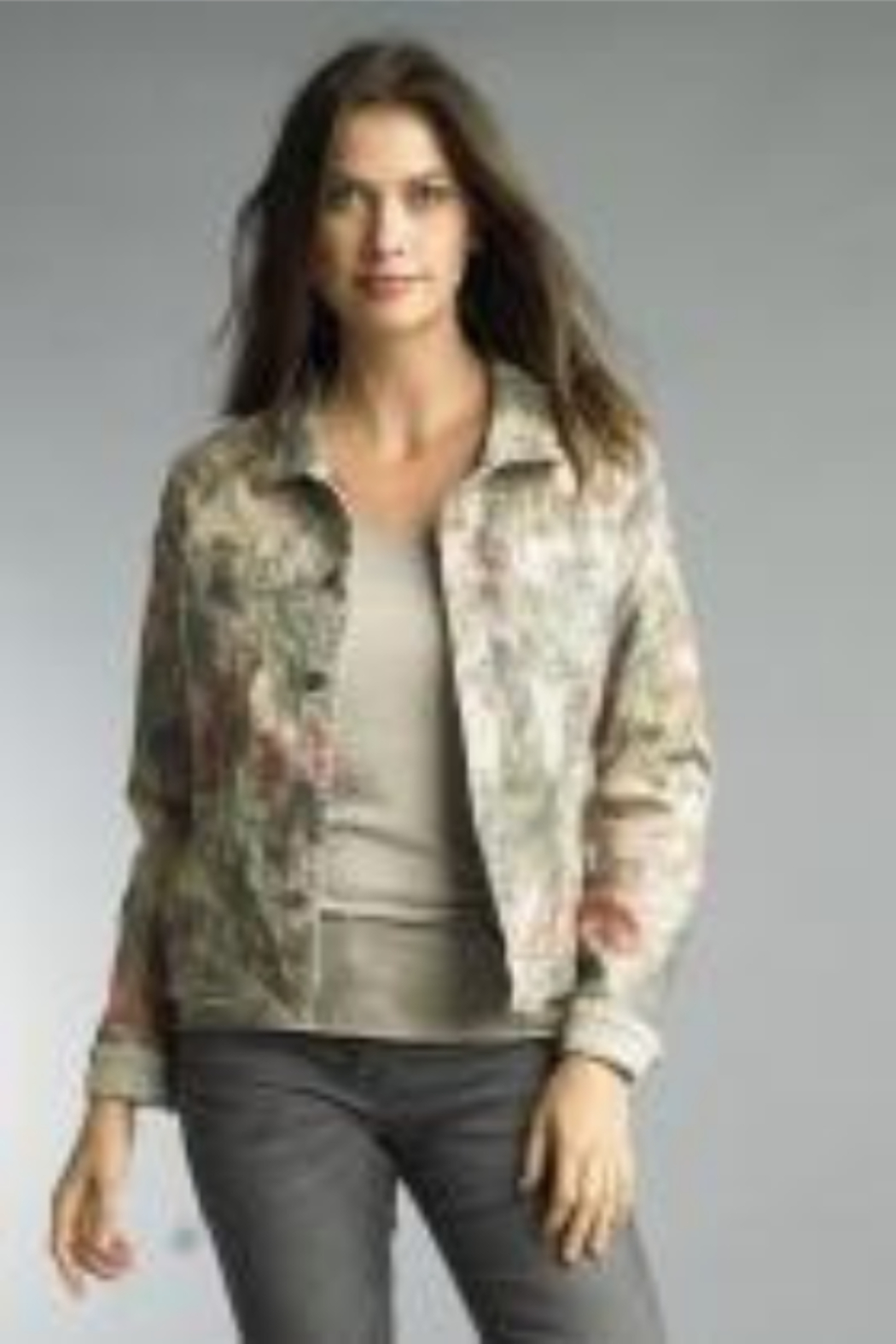 Tempo Reversible Khaki and Muted Pink Floral Pattern Jacket - Main Image