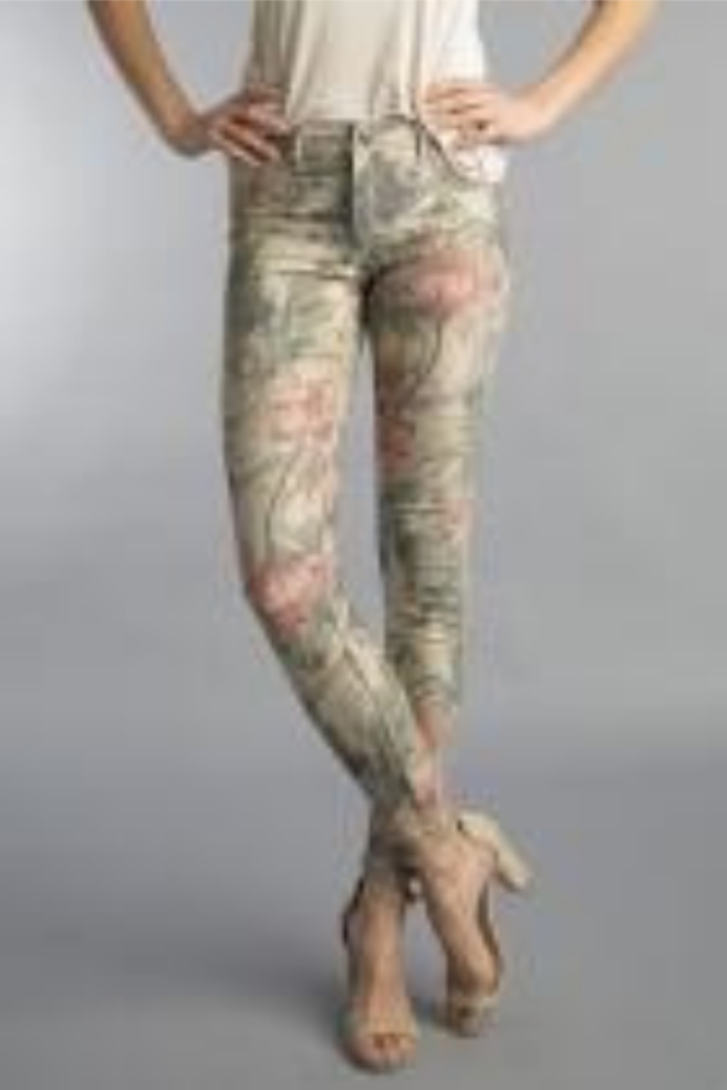 Tempo Reversible Khaki and Muted Pink Floral Pattern Pants - Main Image