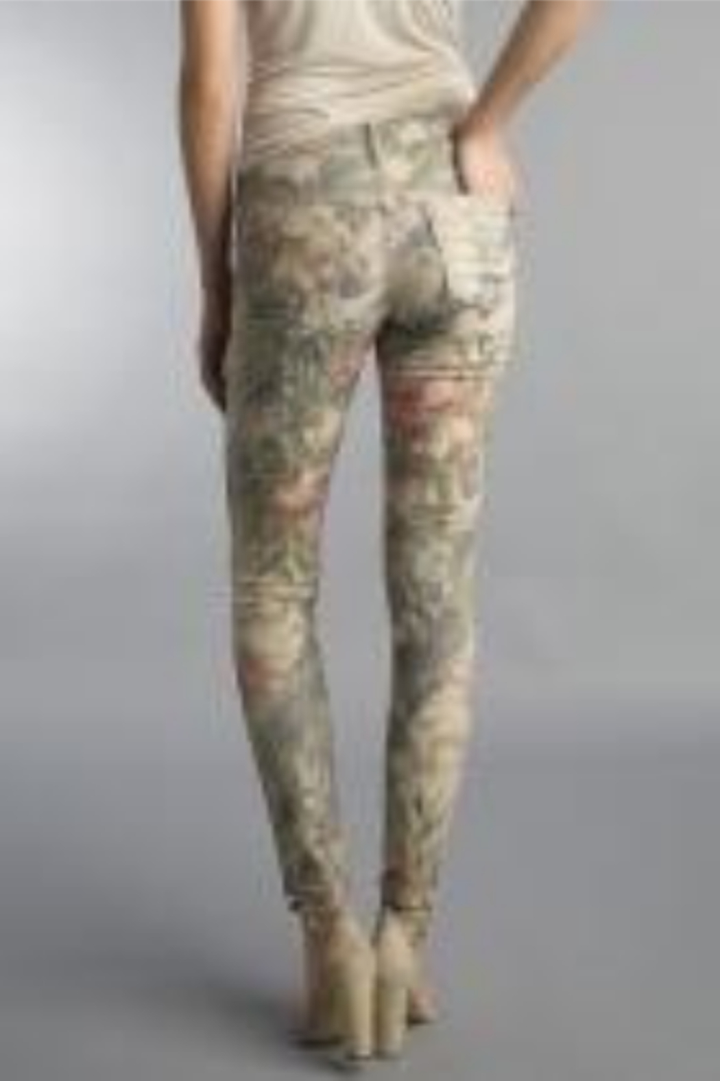 Tempo Reversible Khaki and Muted Pink Floral Pattern Pants - Front Full Image
