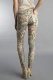 Tempo Reversible Khaki and Muted Pink Floral Pattern Pants - Front full body