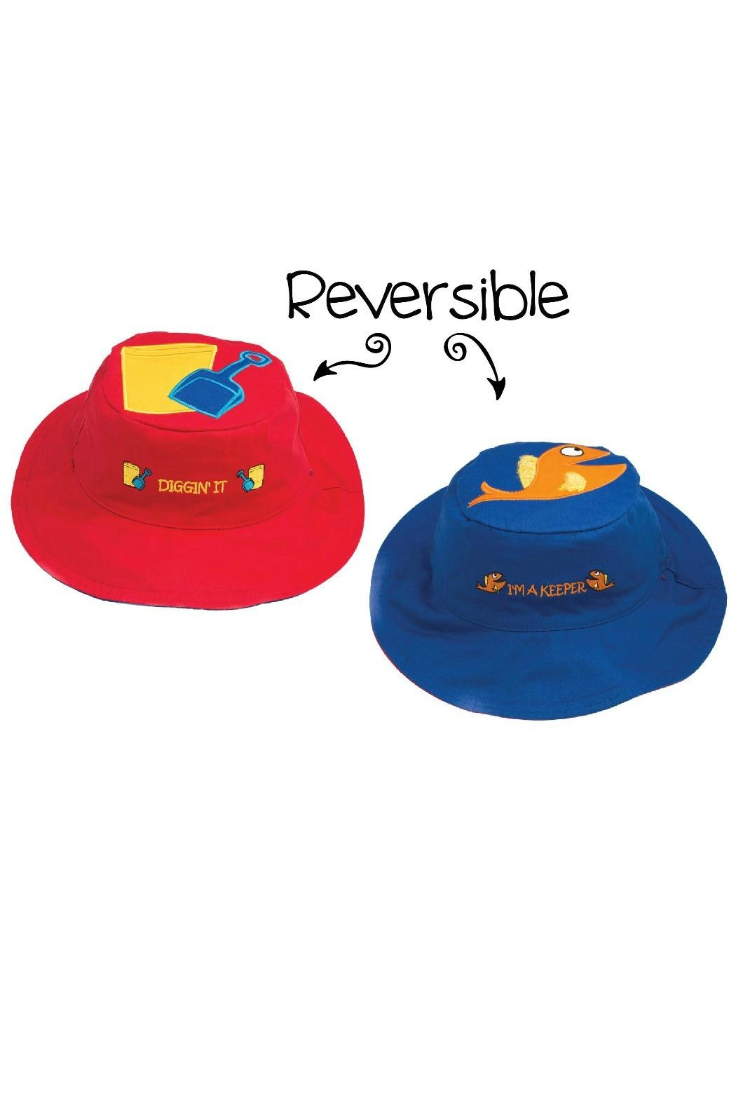 Flapjack Kids Reversible Kids-Sun-Hat Sandbucket-Fish - Front Cropped Image