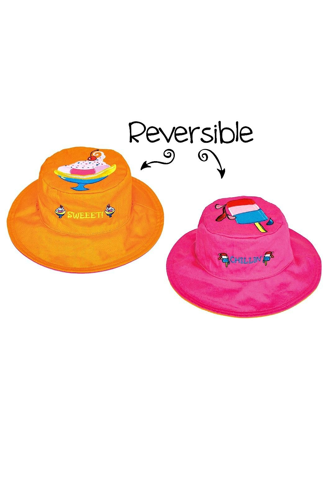 Flapjack Kids Reversible Kids-Sun-Hat Sundae-Popsicle - Front Cropped Image