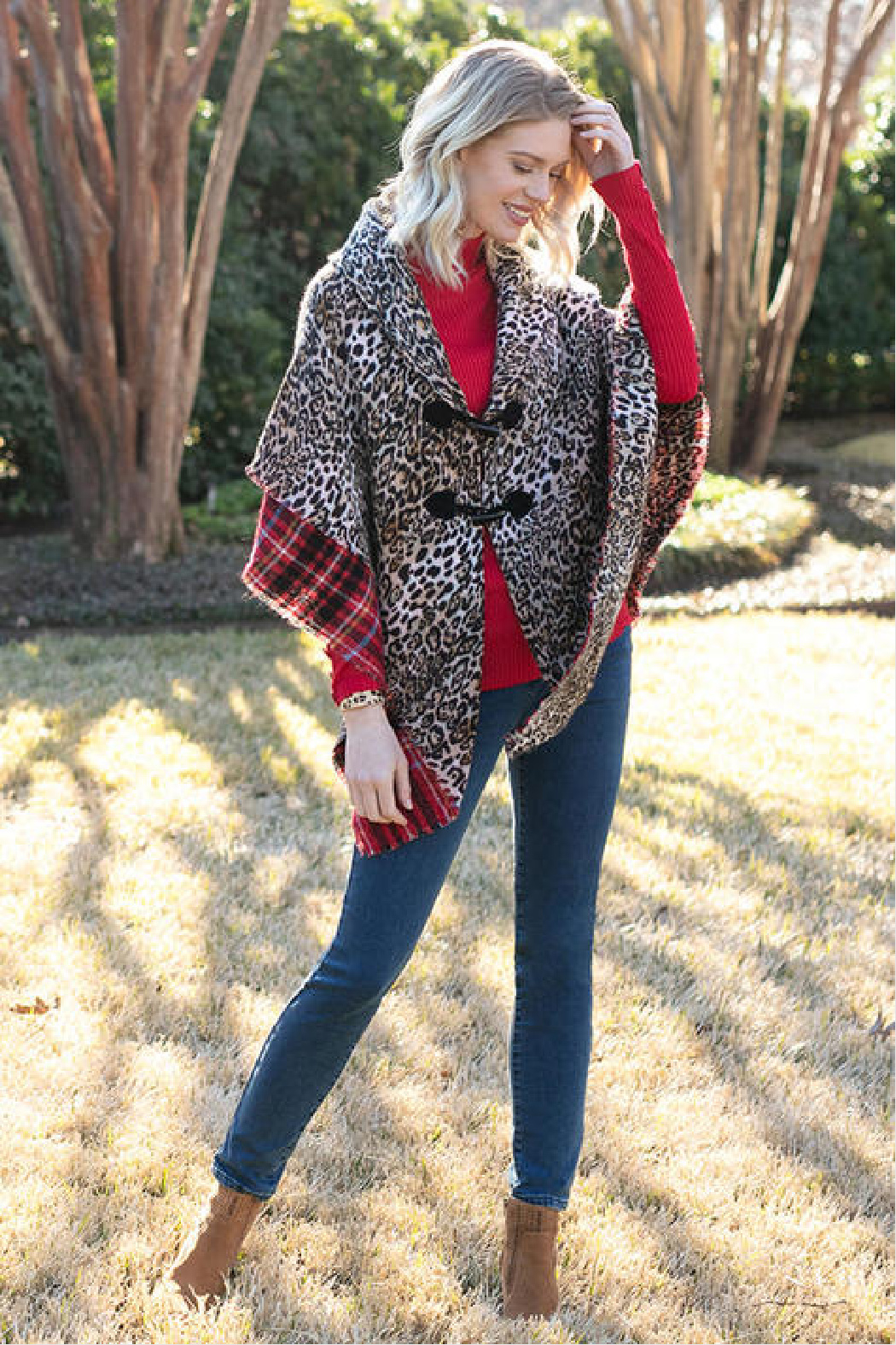 Sharon Young Reversible Leopard/Plaid Wrap - Front Full Image