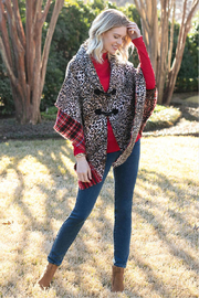Sharon Young Reversible Leopard/Plaid Wrap - Front full body