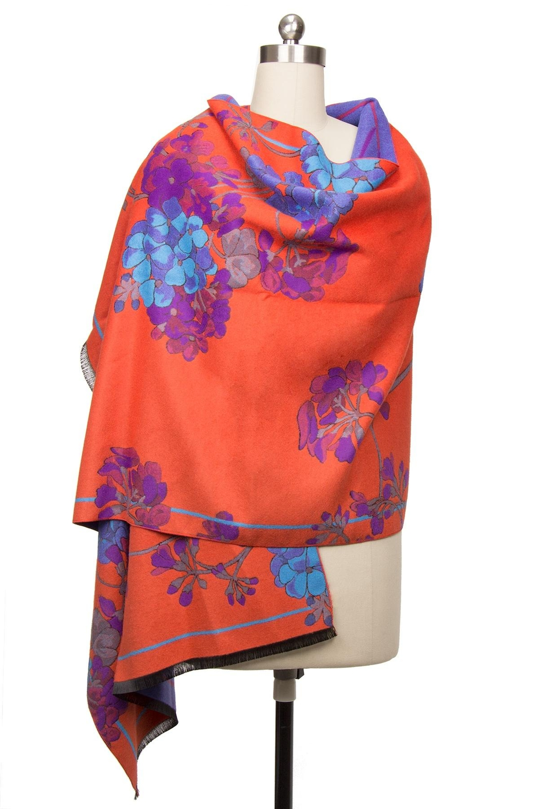 Saachi Reversible Praachy Bright Floral Scarf - Side Cropped Image