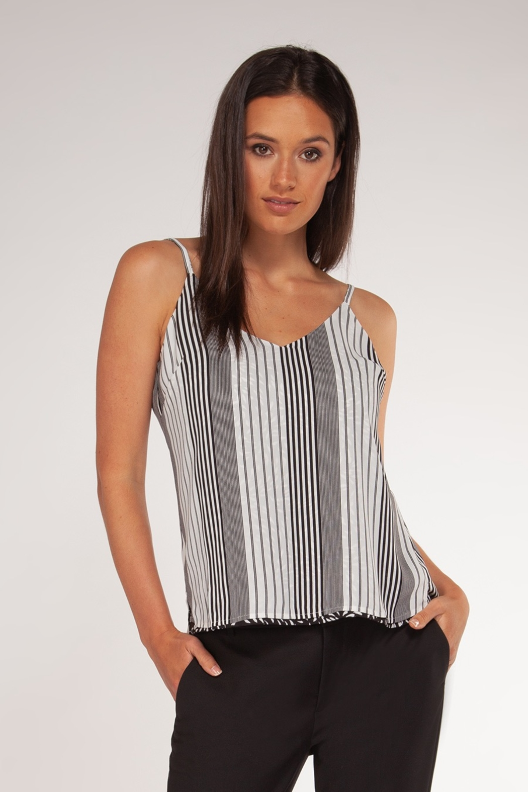 Black Tape Reversible Print V-Neck Cami - Front Full Image