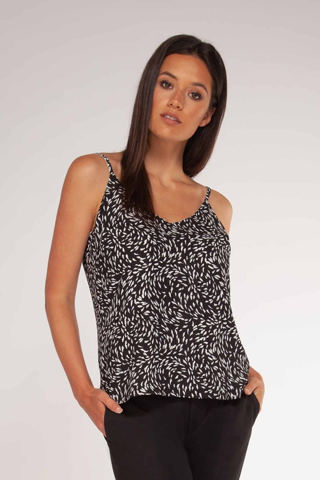 Black Tape Reversible Print V-Neck Cami - Main Image