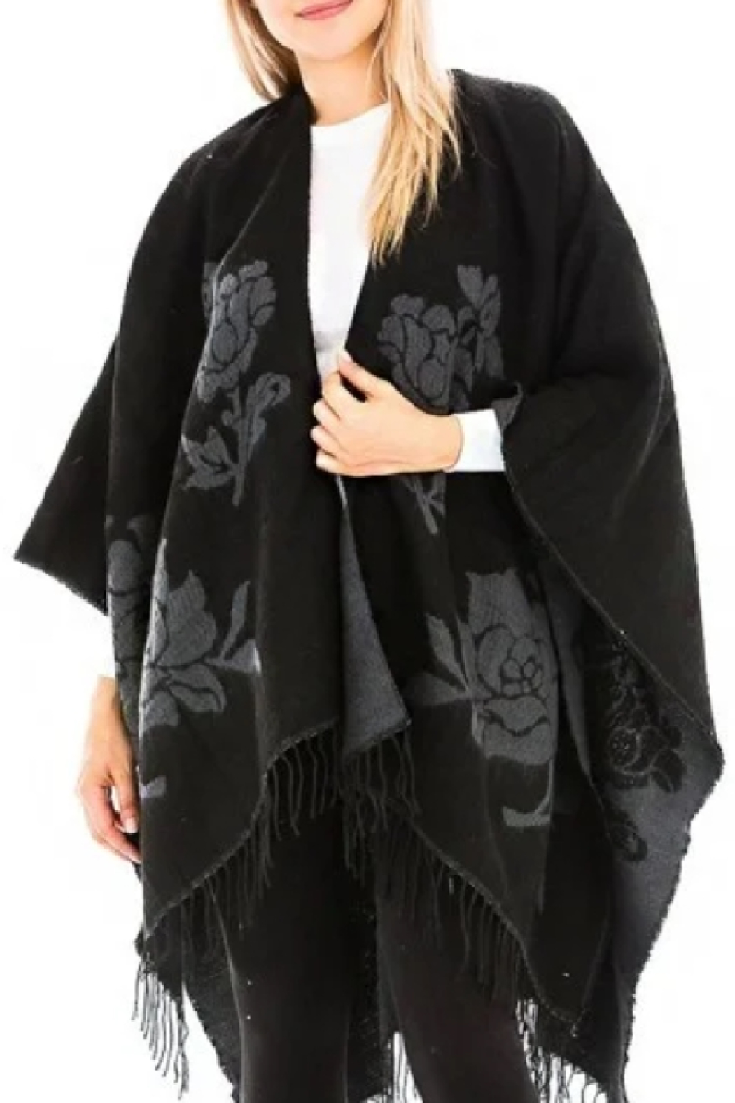 Odiva Reversible Rose Ruana  Cape - Main Image