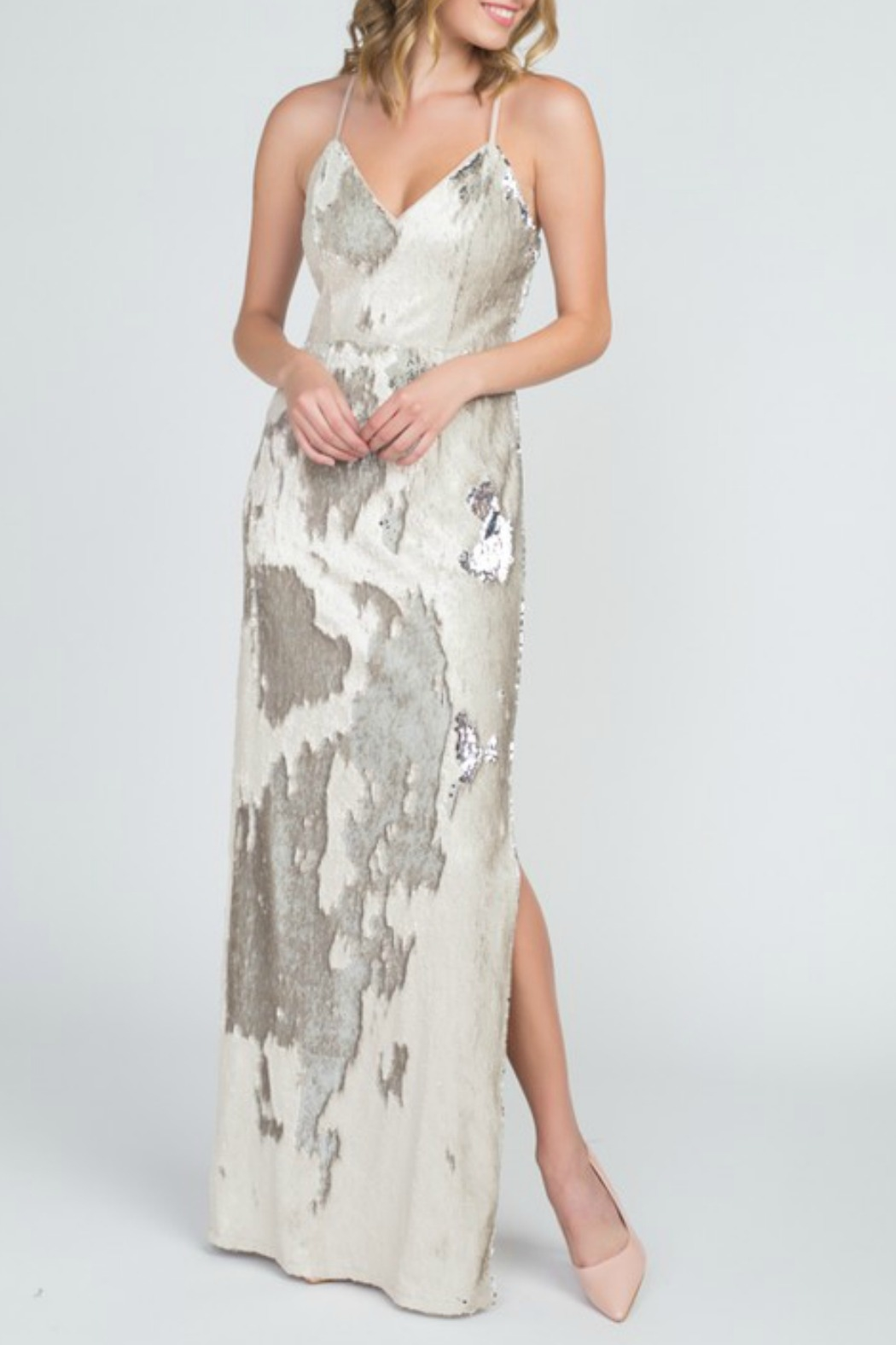 Minuet Reversible Sequin Gown - Front Cropped Image