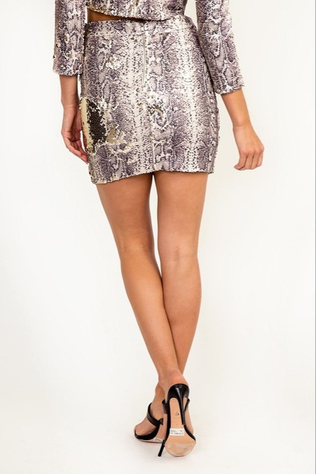 Olivaceous Reversible Sequin Skirt - Side Cropped Image