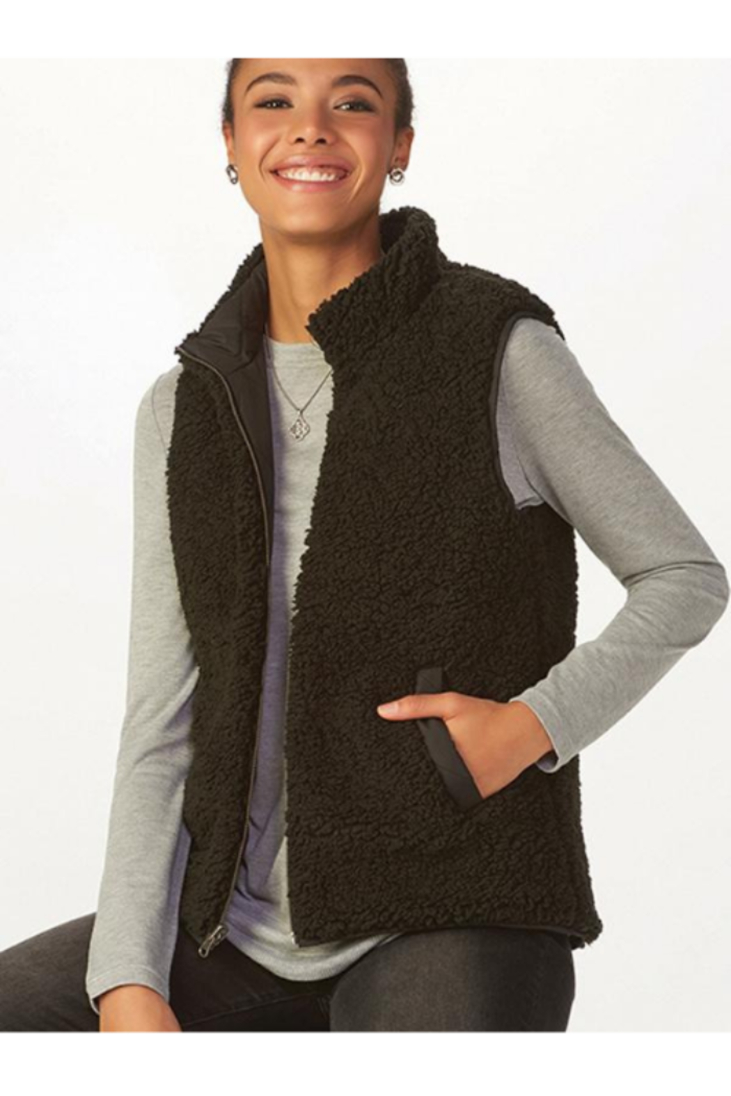 Charlie Paige Reversible Sherpa Vest - Main Image