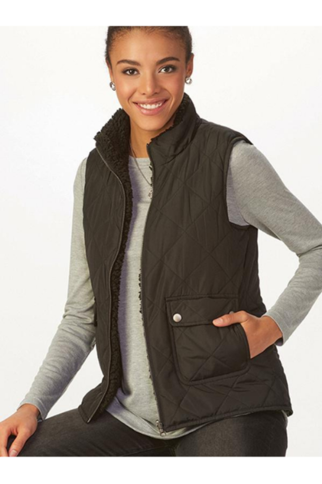 Charlie Paige Reversible Sherpa Vest - Front Full Image