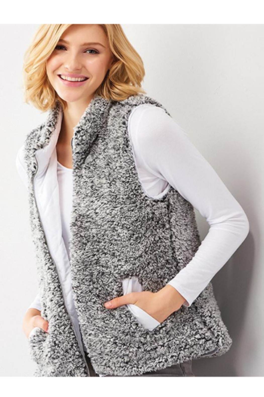 Charlie Paige Reversible Sherpa Vest - Front Cropped Image