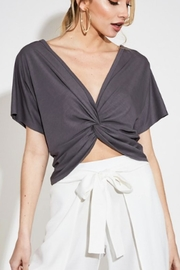 blue blush Reversible  Sleeve Top - Front cropped
