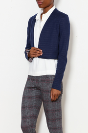 Three Dots Reversible Stripe Flounce Jacket - Front cropped