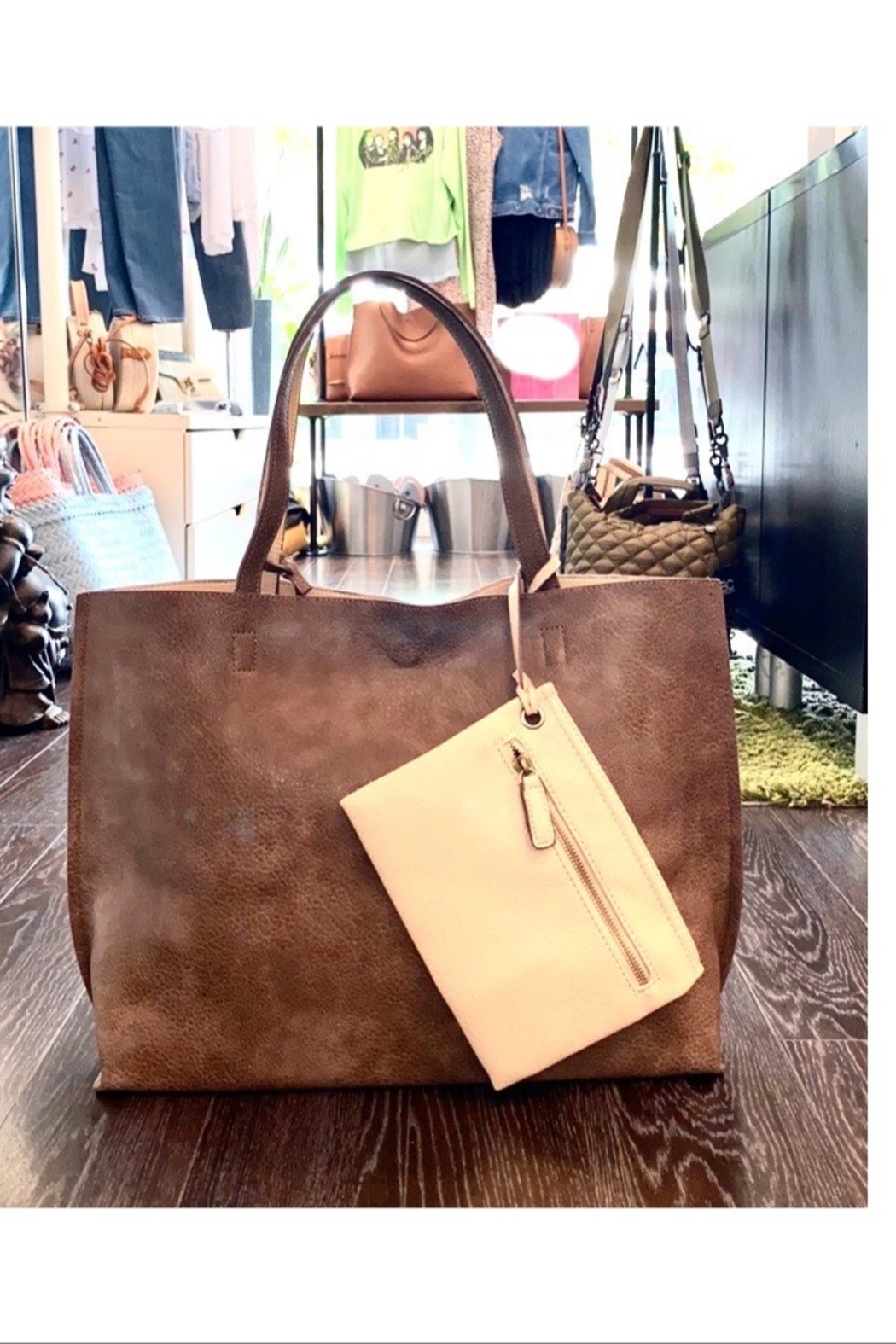 Allie & Chica Reversible Tote in Brown/Nude - Front Full Image
