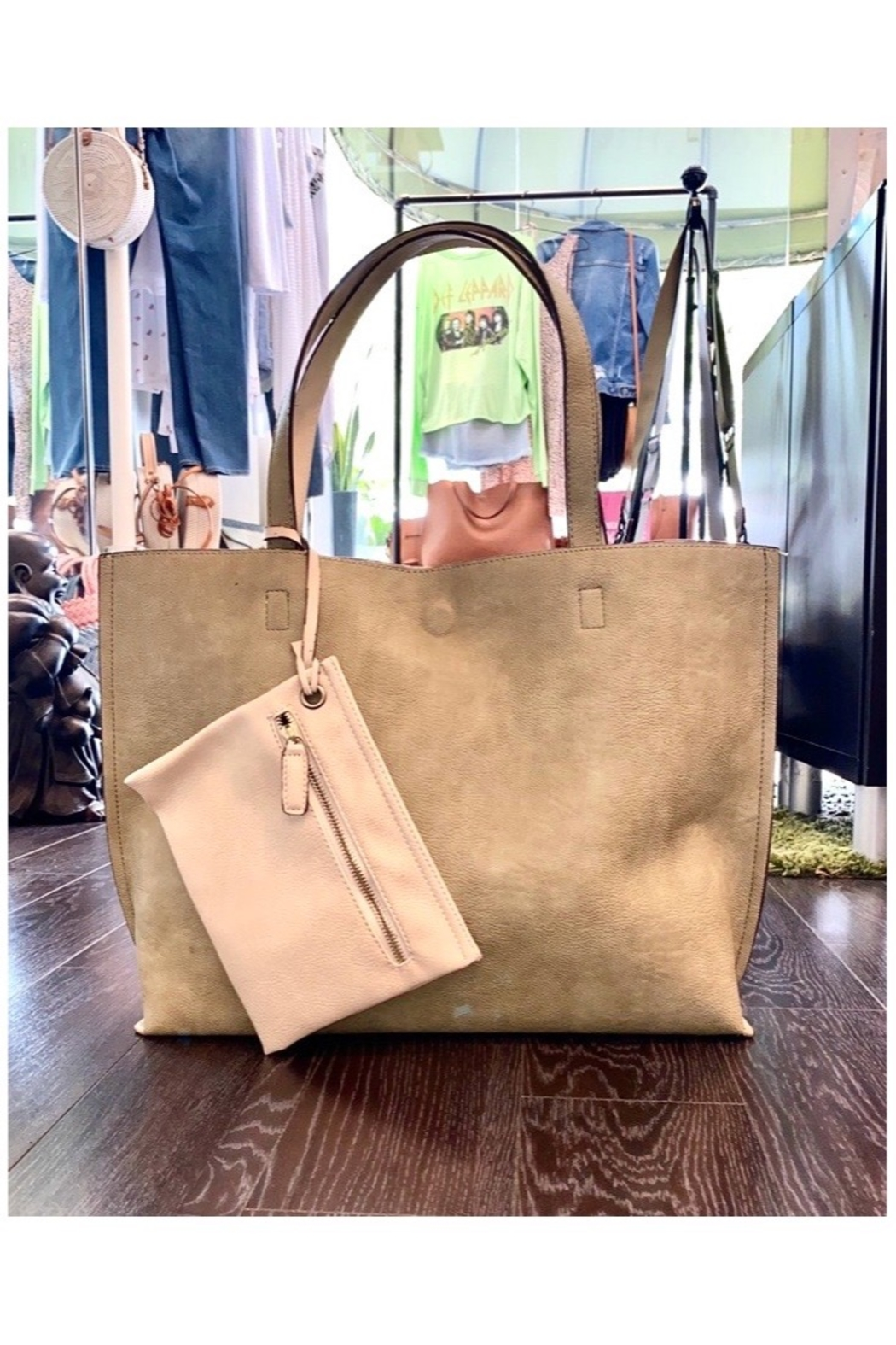 Allie & Chica Reversible Tote Sage/Natural - Front Full Image